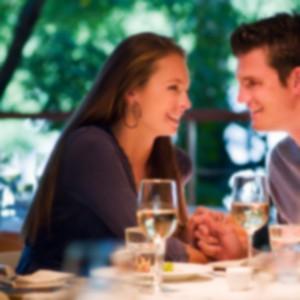 couple dinner blurred
